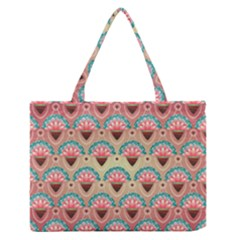 Background Floral Pattern Pink Zipper Medium Tote Bag by HermanTelo