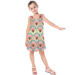 Background Floral Pattern Pink Kids  Sleeveless Dress
