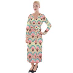 Background Floral Pattern Pink Velvet Maxi Wrap Dress by HermanTelo
