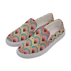 Background Floral Pattern Pink Women s Canvas Slip Ons by HermanTelo