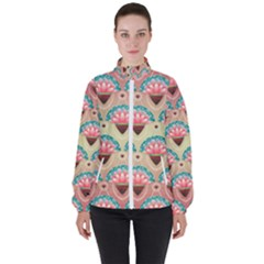 Background Floral Pattern Pink Women s High Neck Windbreaker by HermanTelo
