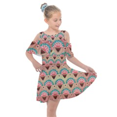 Background Floral Pattern Pink Kids  Shoulder Cutout Chiffon Dress by HermanTelo