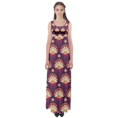 Background Floral Pattern Purple Empire Waist Maxi Dress by HermanTelo