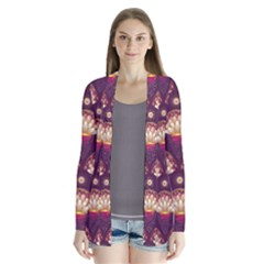 Background Floral Pattern Purple Drape Collar Cardigan by HermanTelo