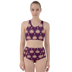 Background Floral Pattern Purple Racer Back Bikini Set by HermanTelo