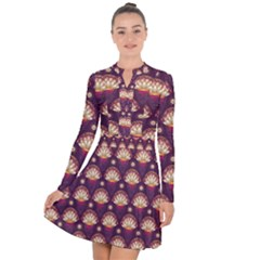 Background Floral Pattern Purple Long Sleeve Panel Dress