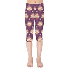 Background Floral Pattern Purple Kids  Capri Leggings  by HermanTelo