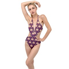 Background Floral Pattern Purple Plunging Cut Out Swimsuit