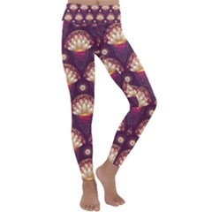 Background Floral Pattern Purple Kids  Lightweight Velour Classic Yoga Leggings
