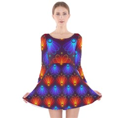Background Colorful Abstract Long Sleeve Velvet Skater Dress
