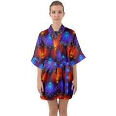 Background Colorful Abstract Quarter Sleeve Kimono Robe by HermanTelo