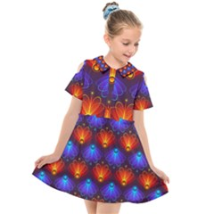 Background Colorful Abstract Kids  Short Sleeve Shirt Dress by HermanTelo