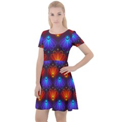 Background Colorful Abstract Cap Sleeve Velour Dress  by HermanTelo