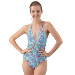 Background Frozen Fever Halter Cut-out One Piece Swimsuit