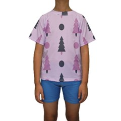 Christmas Tree Fir Den Kids  Short Sleeve Swimwear by HermanTelo