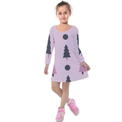 Christmas Tree Fir Den Kids  Long Sleeve Velvet Dress by HermanTelo