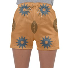 Flowers Screws Rounds Circle Sleepwear Shorts