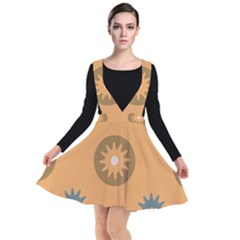 Flowers Screws Rounds Circle Plunge Pinafore Dress by HermanTelo