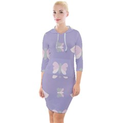 Butterfly Butterflies Merry Girls Quarter Sleeve Hood Bodycon Dress