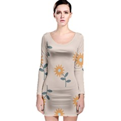 Flowers Continuous Pattern Nature Long Sleeve Bodycon Dress