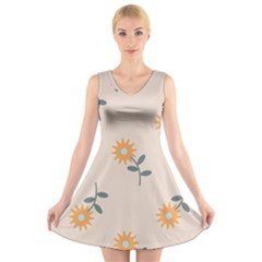 Flowers Continuous Pattern Nature V Neck Sleeveless Dress