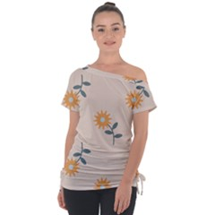 Flowers Continuous Pattern Nature Tie Up Tee by HermanTelo