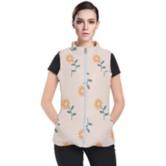 Flowers Continuous Pattern Nature Women s Puffer Vest