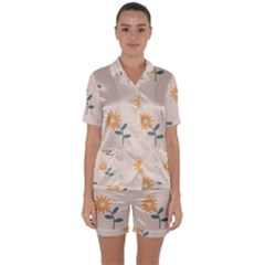 Flowers Continuous Pattern Nature Satin Short Sleeve Pyjamas Set