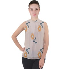 Flowers Continuous Pattern Nature Mock Neck Chiffon Sleeveless Top by HermanTelo