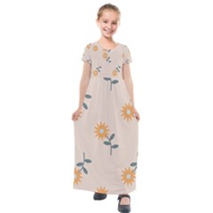 Flowers Continuous Pattern Nature Kids  Short Sleeve Maxi Dress by HermanTelo