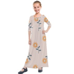 Flowers Continuous Pattern Nature Kids  Quarter Sleeve Maxi Dress by HermanTelo