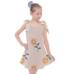 Flowers Continuous Pattern Nature Kids  Tie Up Tunic Dress