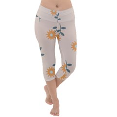 Flowers Continuous Pattern Nature Lightweight Velour Capri Yoga Leggings