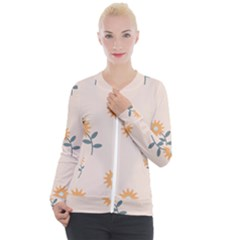 Flowers Continuous Pattern Nature Casual Zip Up Jacket by HermanTelo