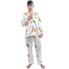 Pineapples Pattern Men s Satin Pajamas Long Pants Set