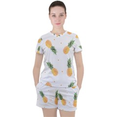 Pineapples Pattern Women s Tee And Shorts Set by goljakoff