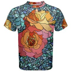 Stained Glass Roses Men s Cotton Tee