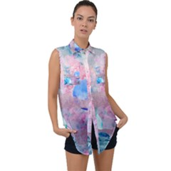 Abstract Clouds And Moon Sleeveless Chiffon Button Shirt