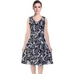 Modern Camouflage Pattern V Neck Midi Sleeveless Dress