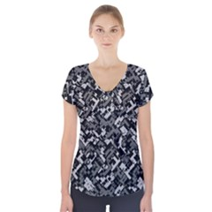 Modern Camouflage Pattern Short Sleeve Front Detail Top by tarastyle