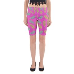 Neon Tropical Flowers Pattern Yoga Cropped Leggings by tarastyle