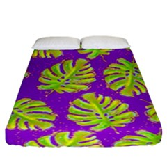 Neon Tropical Flowers Pattern Fitted Sheet (king Size) by tarastyle
