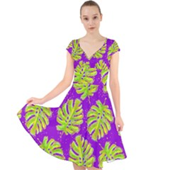 Neon Tropical Flowers Pattern Cap Sleeve Front Wrap Midi Dress by tarastyle