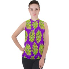 Neon Tropical Flowers Pattern Mock Neck Chiffon Sleeveless Top by tarastyle