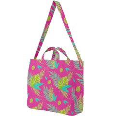 Neon Tropical Flowers Pattern Square Shoulder Tote Bag by tarastyle