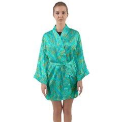 Neon Tropical Flowers Pattern Long Sleeve Kimono Robe by tarastyle
