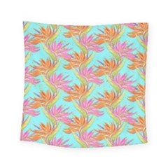 Neon Tropical Flowers Pattern Square Tapestry (small) by tarastyle