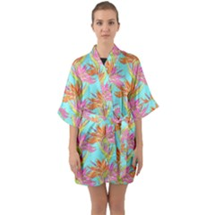 Neon Tropical Flowers Pattern Quarter Sleeve Kimono Robe by tarastyle