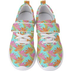 Neon Tropical Flowers Pattern Men s Velcro Strap Shoes by tarastyle