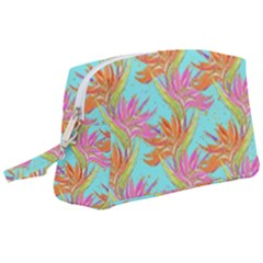 Neon Tropical Flowers Pattern Wristlet Pouch Bag (large) by tarastyle